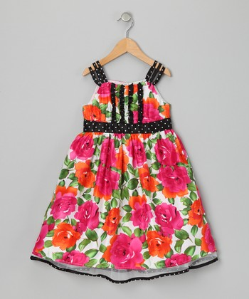 Fuchsia Floral & Polka Dot Dress - Girls