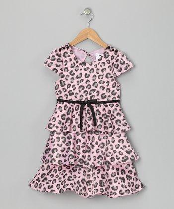 Pink Leopard Kendra Dress - Girls