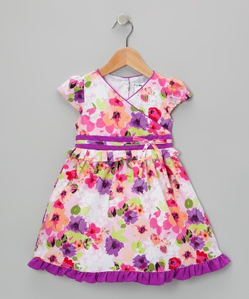 Purple & White Mina Dress - Infant, Toddler & Girls