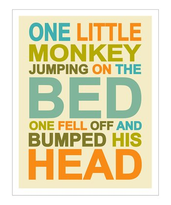Blue 'One Little Monkey' Giclée Print