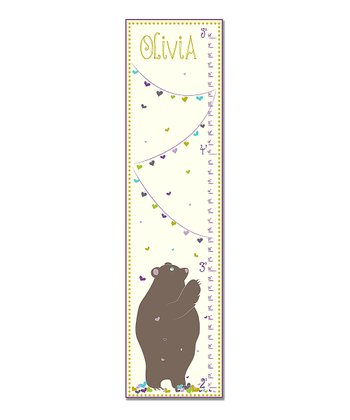 Purple Love Bear Personalized Growth Chart