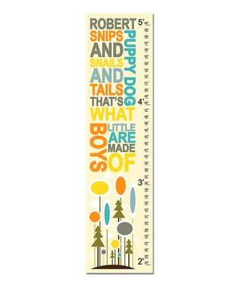 Yellow & Gray 'Little Boys' Personalized Growth Chart