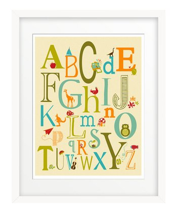 Blue 'ABC' Typography Giclée Print