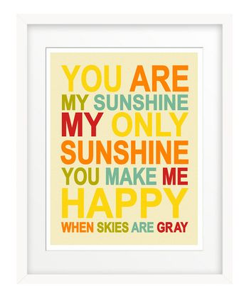 Red & Yellow 'You Are My Sunshine' Giclée Print