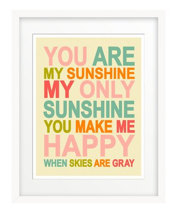 Pink Retro 'You Are My Sunshine' Art Print