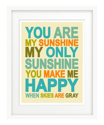 Blue Retro 'You Are My Sunshine' Giclée Print