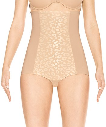 Nude Leopard High-Waist Shaper Briefs - Women & Plus