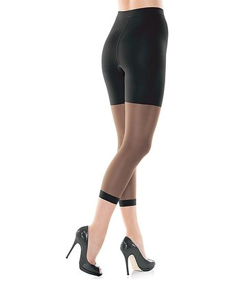 Black High-Waist Footless Shaper Tights - Women & Plus