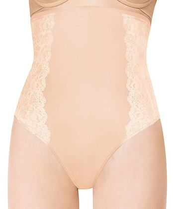 Nude Lace Panel High-Waist Shaper Thong - Women & Plus