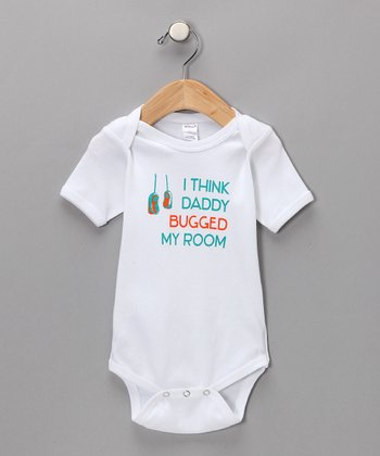 White 'Bugged My Room' Bodysuit - Infant