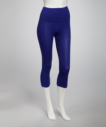 Cobalt Blue Seamless Shaper High-Waisted Capri Leggings