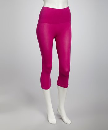 Fuchsia Seamless Shaper High-Waisted Capri Leggings