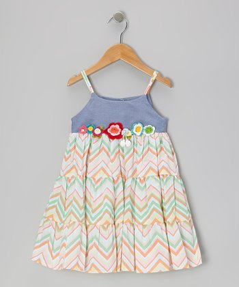 Blue Zaza Tiered Dress - Girls