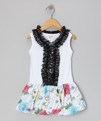 White Sugar Rose Bubble Dress - Toddler & Girls