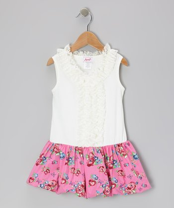 Pink Rose Butterfly Bubble Dress - Toddler & Girls