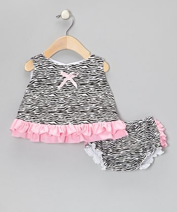 Light Pink Zebra Ruffle Tank & Diaper Cover - Infant & Toddler