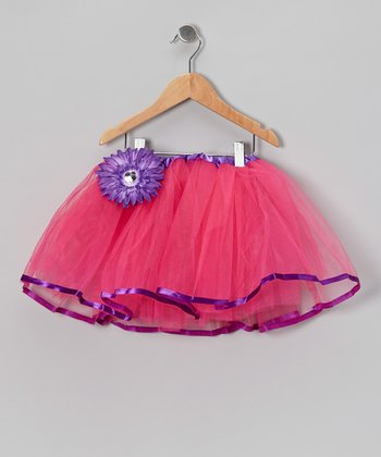 Dark Pink & Purple Tutu & Flower Clip - Toddler & Girls