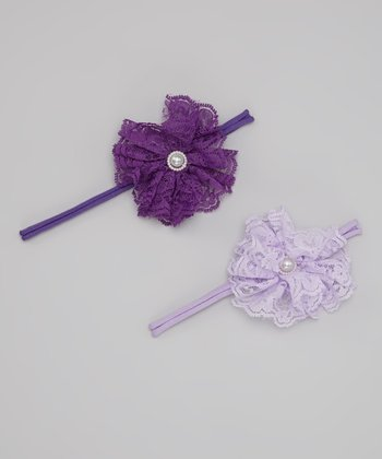 Purple & Lavender Lace Flower Headband Set