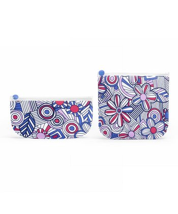 Blue Mosaic Flower Sandwich & Snack Bag Set