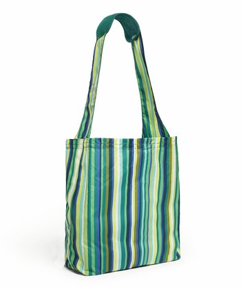 Emerald Stripe Reusable Shopper Tote