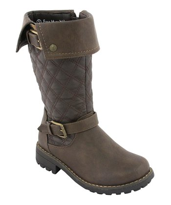 Brown Quilted Double-Buckle Boot