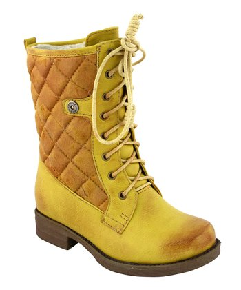 Yellow Quilted Lace-Up Boot