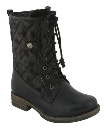 Black Quilted Lace-Up Boot