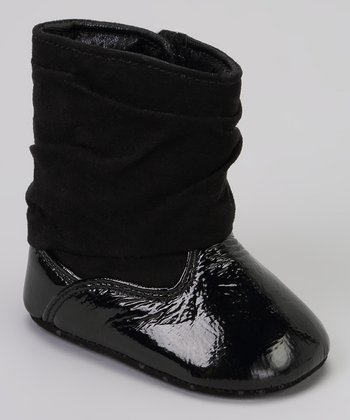 Black Crinkle Patent Boot