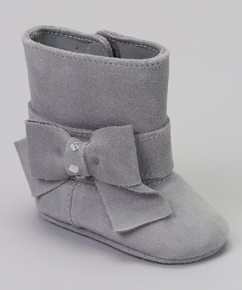 Gray Rhinestone Bow Suede Boot