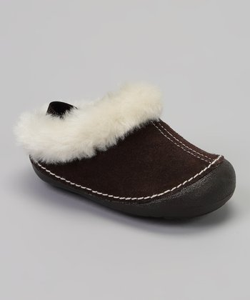 Brown Suede Faux Fur Clog