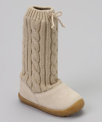 Tan Suede Cable-Knit Slouch Boot