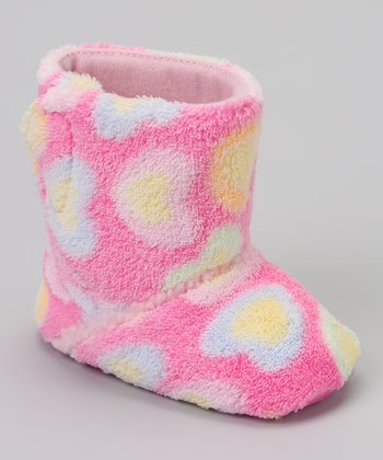 Pink & Blue Heart Plush Boot
