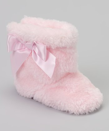 Pink Bow Faux Fur Boot