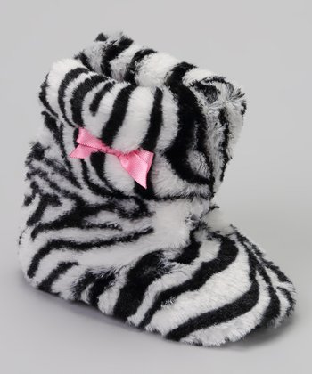 Black & White Zebra Bow Faux Fur Boot