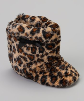Brown Leopard Bow Faux Fur Boot