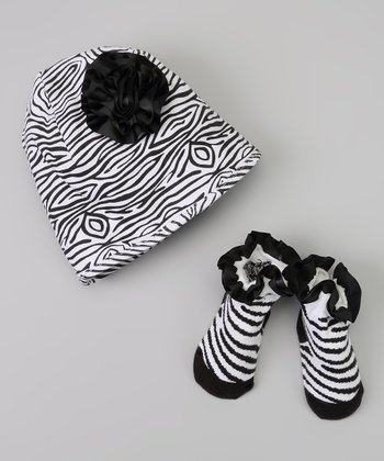Black & White Zebra Flower Beanie & Socks