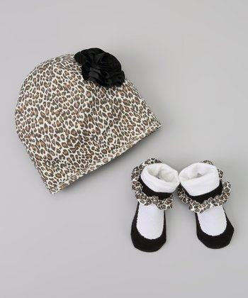 Brown Leopard Flower Beanie & Socks