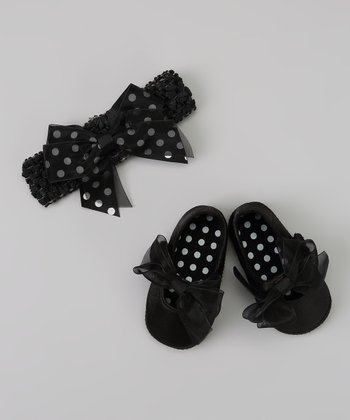 Black Polka Dot Bow Headband & Bow Flat
