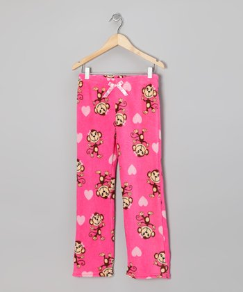 Fuchsia Monkey Fleece Pants