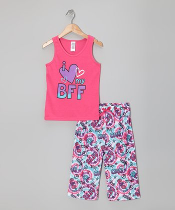 Hot Pink 'I Love My BFF' Pajama Set