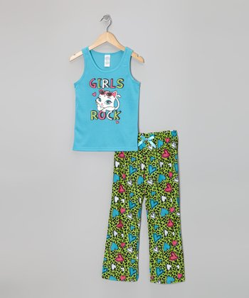 Turquoise 'Girls Rock' Pajama Set