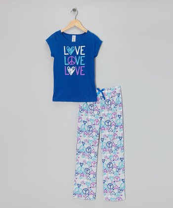 Blue 'Love' Pajama Set
