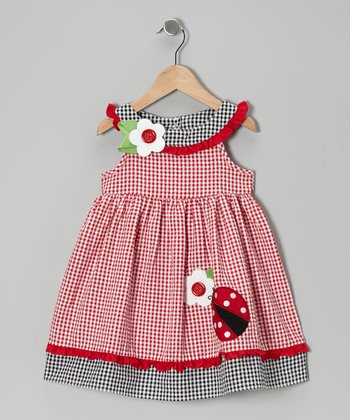 Red Ladybug A-Line Dress - Girls