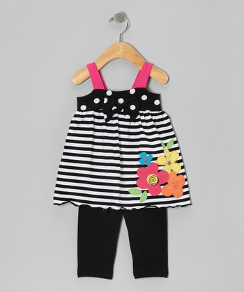 Black Stripe Flora Tunic & Leggings - Girls