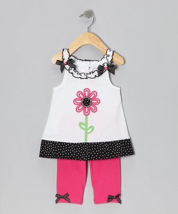 White Big Flower Tunic & Pink Leggings - Girls