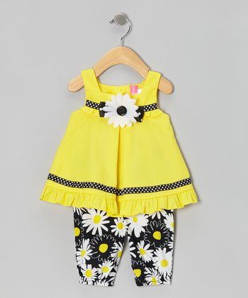 Yellow Daisy Tunic & Leggings - Girls