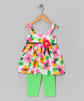 Pink Floral Tunic & Green Leggings - Girls