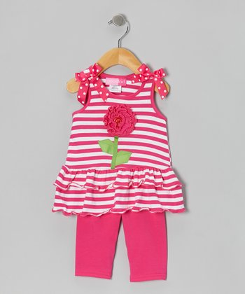 Pink Flower Bow Tunic & Leggings - Girls
