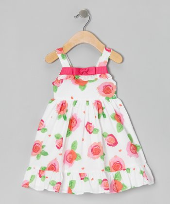 White Floral Ruffle Dress - Girls