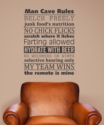 'Man Cave Rules' Wall Decal